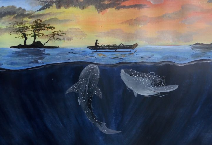 Whale sharks and fisherman - Ubunartworks