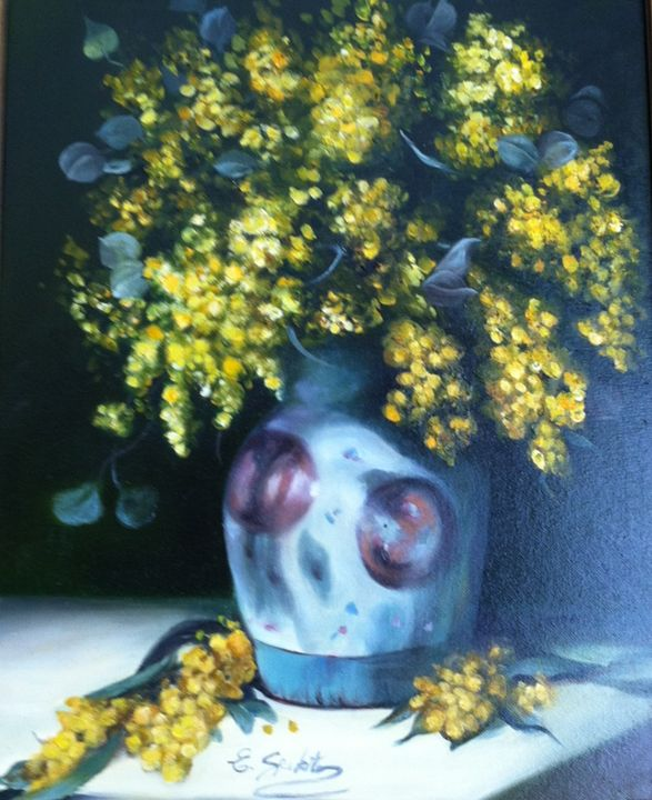 Yellow Flowers in Blue Vase - Esther Spektor