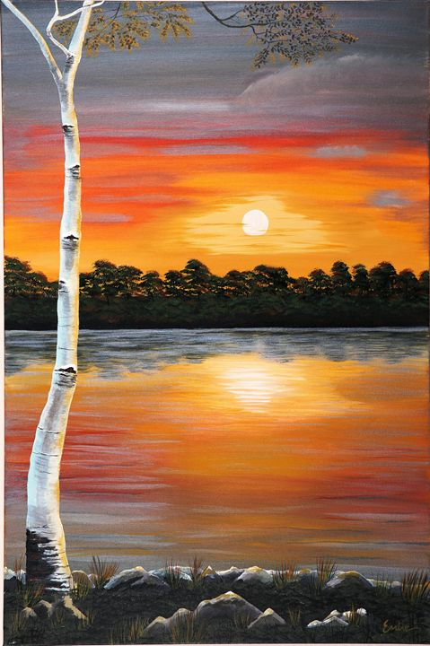 A Birch Tree under the sunset - EminentArt