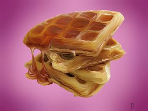 Stack of Waffles with Syrup. - Christopher Dahr