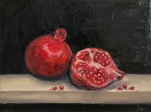 Pomegranates, oil painting