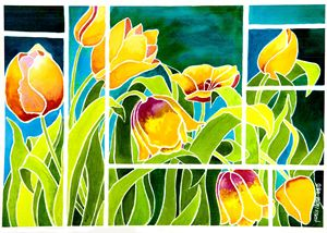 Tulips in 'Stained Glass'