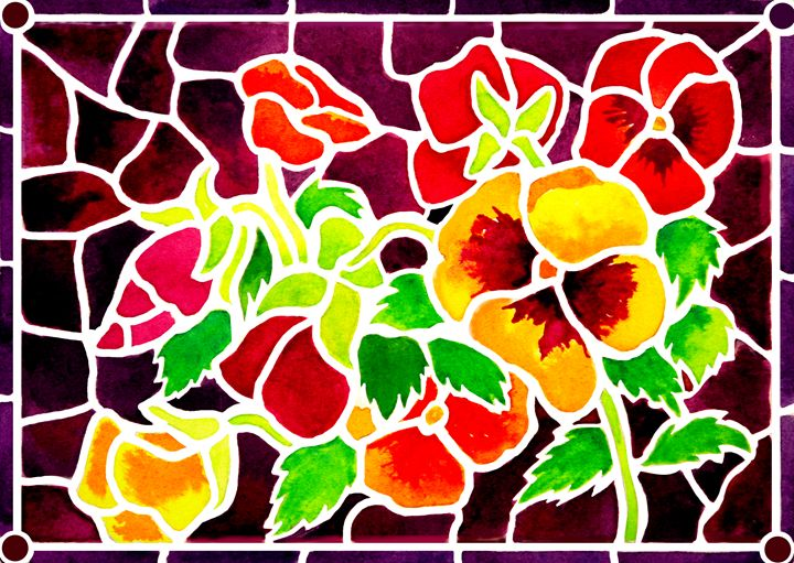 'Stained Glass' Pansies - Janis Ilene Images