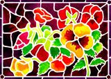 Pansies captured in 'stained glass.'