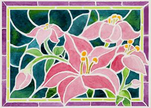Pink Day Lilies in 'Stained Glass' - Janis Ilene Images