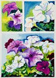 Purple and pink summer petunias