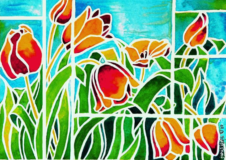 Tulips in 'Stained Glass' 2 - Janis Ilene Images