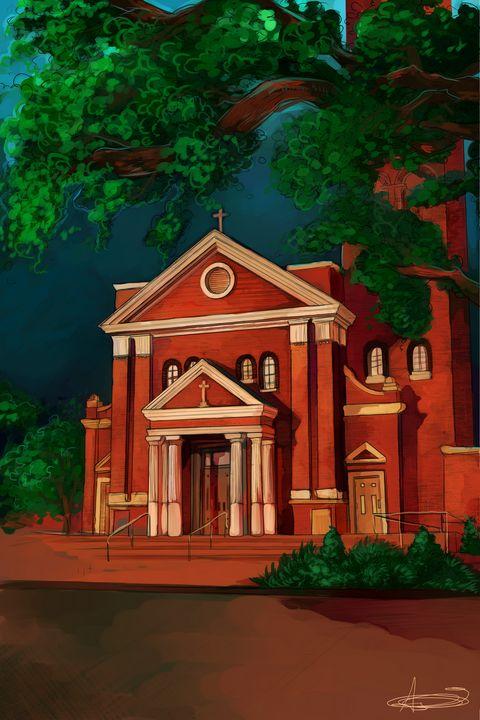 Louisiana Church - Ashton Sunseri Illustration and Painting