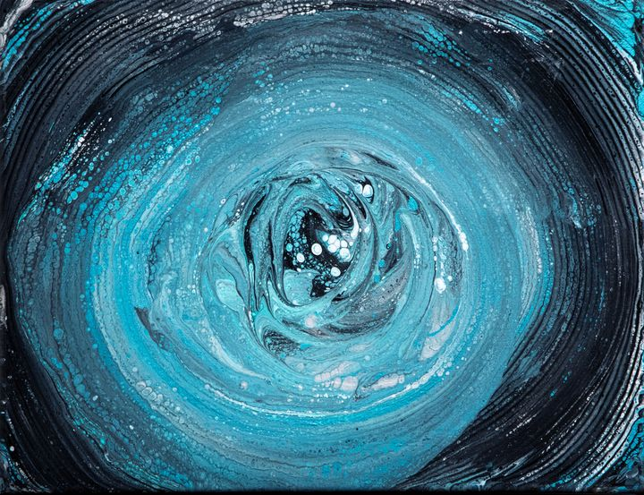 Teal, Black & White swirl - The Artist Spot