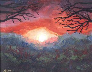Sunset in Flowerfield, Art Print