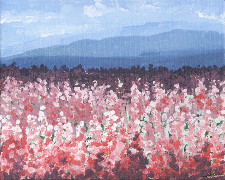Flower field on a cloudy day. - EK-Wonderland