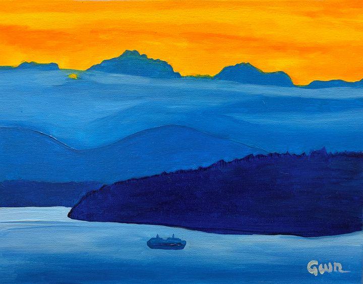 Blue Sound Sunset - Nine Peaks Art