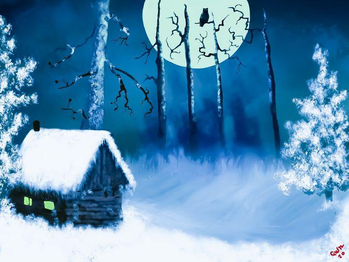 Owl and Moon in Snow - Nine Peaks Art