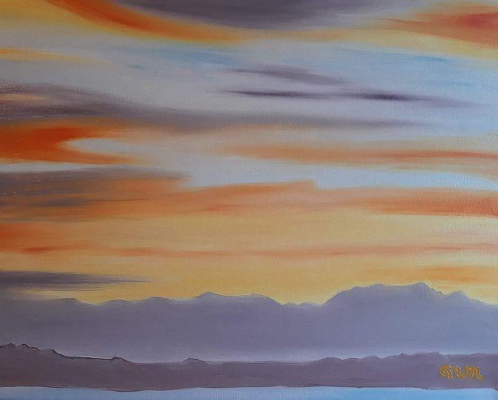 Flaming Orange Sunset, Puget Sound - Nine Peaks Art