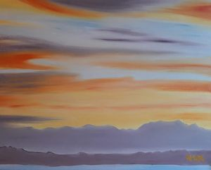 Flaming Orange Sunset, Puget Sound