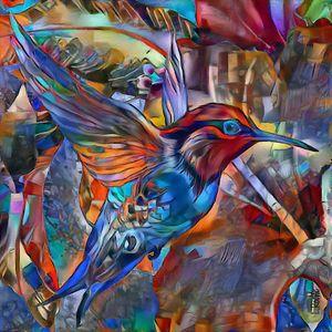 Colibri 2021 - 60x60 cm - hummingbir - Léa ROCHE