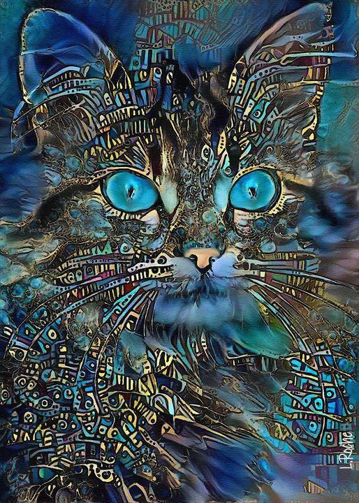 Hoyku, cat-70x50cm-mixmedia - Léa ROCHE