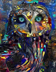 Reine de nuit, owl - 70x55 cm - Léa ROCHE