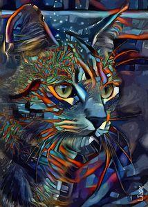 Fargus, cat - 70x50 cm - Léa ROCHE