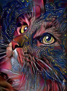 Jaspee, cat - Mix media on panel -70