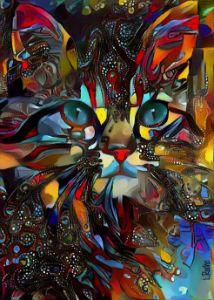 Karlyta, cat - mix media - 70x50 cm