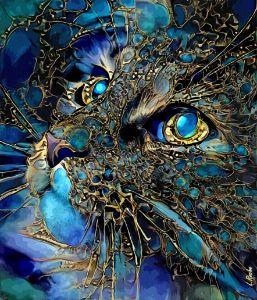 Cat jewell - 70x60cm - on panel