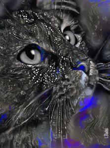 Sally Black-Blue -70x52 cm