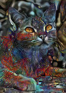 Shon Jr, cat - 70x50 cm on panel - Léa ROCHE