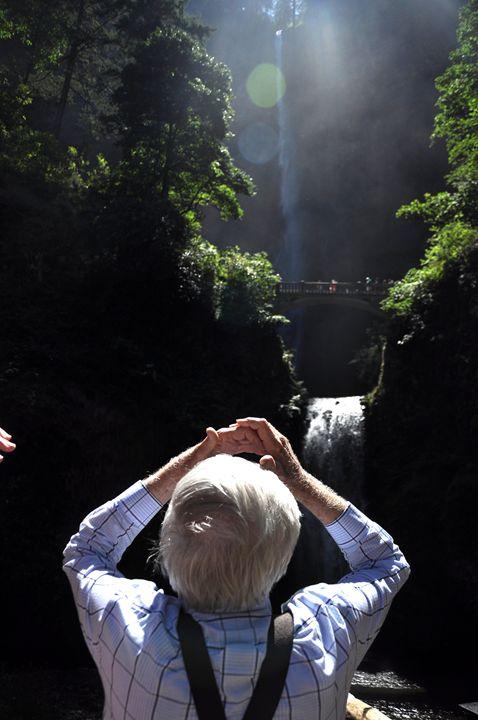 Admiring Multnomah Falls - Shirleypix Art & Photography