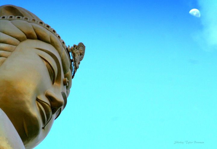 Day Moon overshadows Golden Buddha - Shirleypix Art & Photography