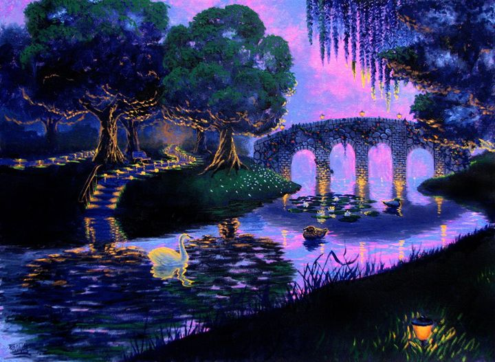 Purple Bridge Evening - Benjamin Davis