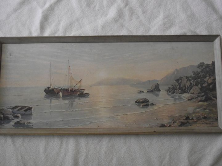 """""""Fishing Boats"""" signed August Albo - Mychael's Girl"""