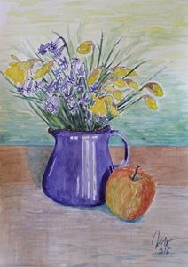 Still life with flowers and apple