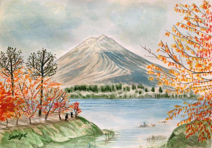 Mont Fuji near Lake Kawaguchi - SandyArt