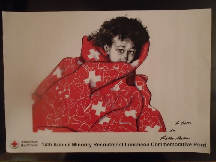 Red Cross Art Print Red Quilt - Wynn Legacy House Art Gallery