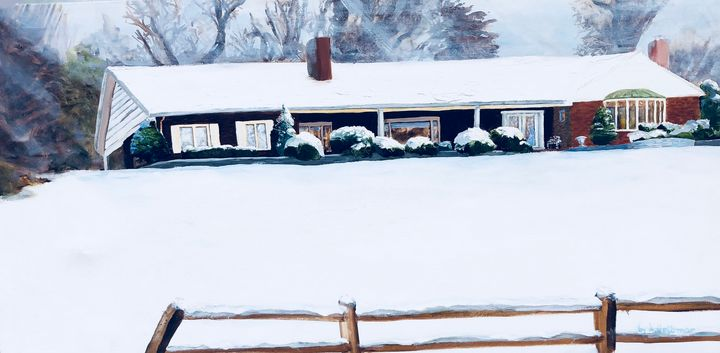 Long Drive by Homes in the Snow - by Alison Gelbman