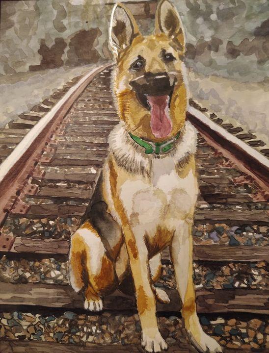 Shepherd on Train Tracks - Paige1Designs