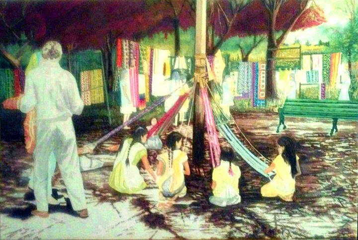 Schoolgirls Weaving - Oaxaca Mexico - Mystery Artist