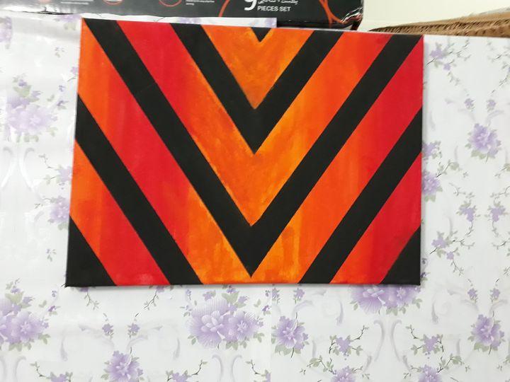 Geometric zebra like hand painting - Fadhil' arts