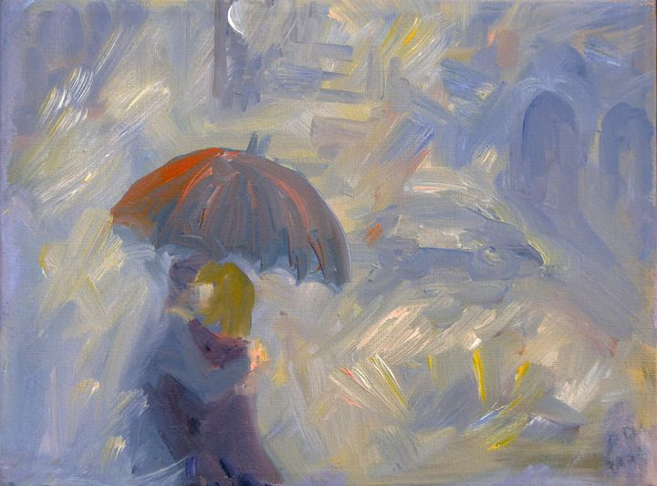 Lovers in the rain - oil on canvas - ART Prints, paintinga & drawings