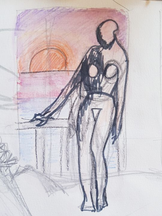Lady on the balcony at sunset - ART Prints, paintinga & drawings