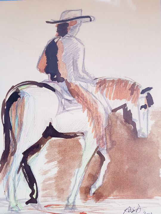 Lone rider - ART Prints, paintinga & drawings