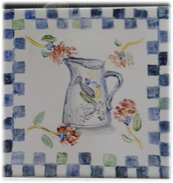 hand painted tile - jug - New Age Art