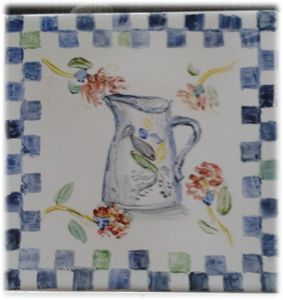 hand painted tile - jug