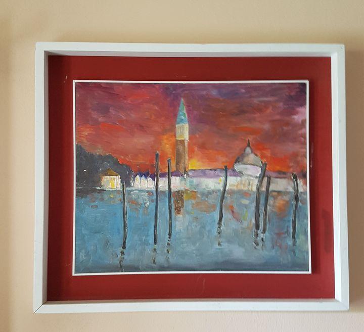 Red sunset i  Venice - ART Prints, paintinga & drawings
