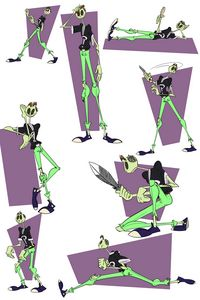 Zomboy action poses green