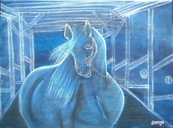 horse in blue - Shreya