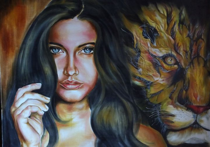 lady with tiger - Colour's