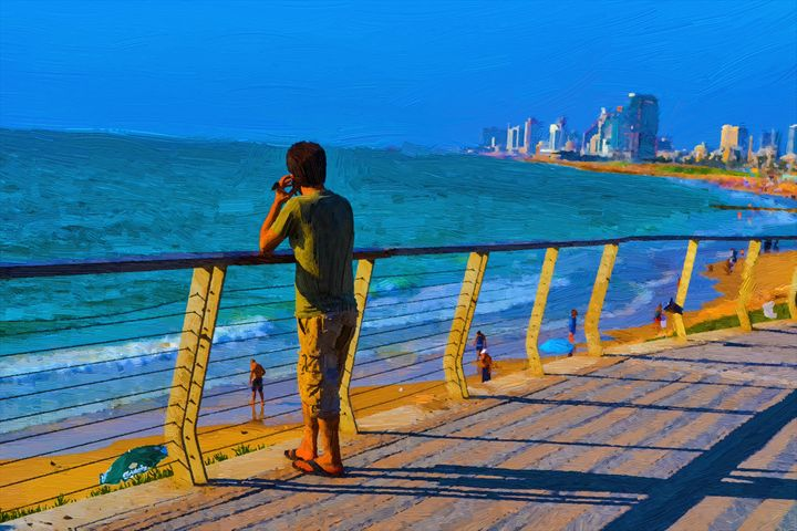Talcking man on the beach - slavamalai