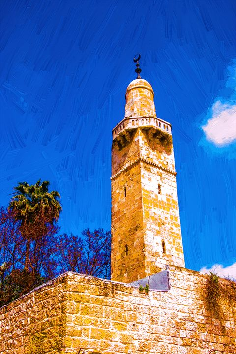 Minaret in the old city of Jerusalem - slavamalai